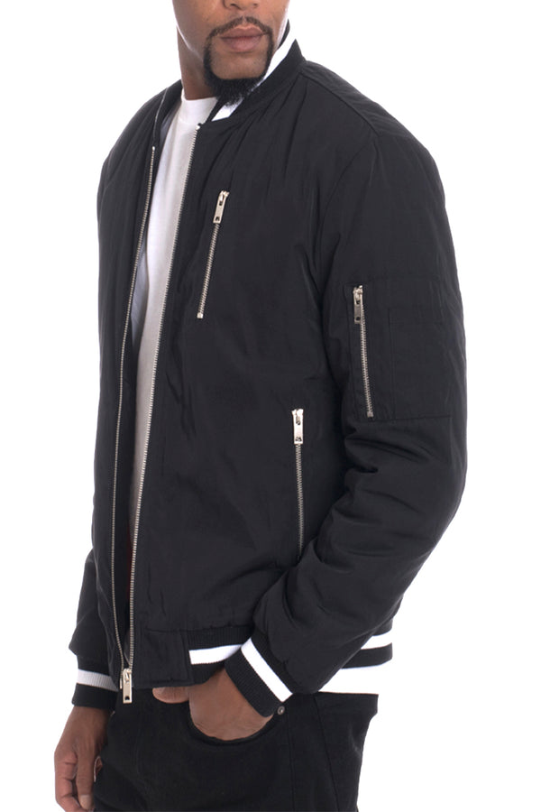 Luxury Padded Twill Jacket-BLACK