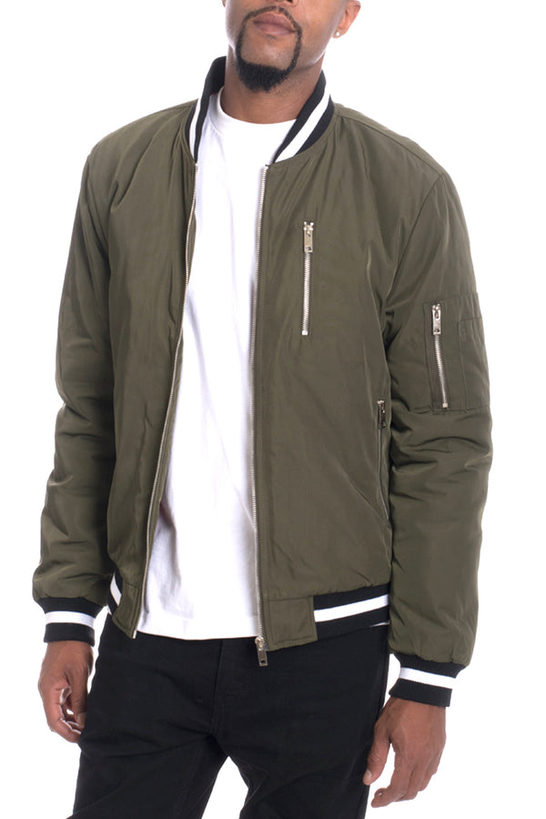 Luxury Padded Twill Jacket-OLIVE