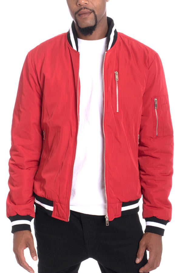 Luxury Padded Twill Jacket-RED
