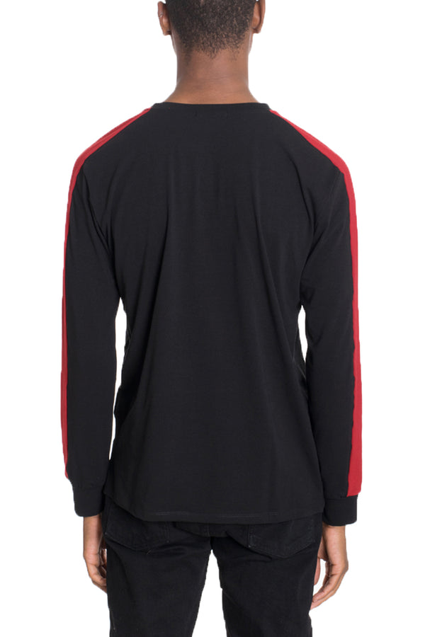 SIDE STRIPE LONG SLEEVE- BLACK/RED