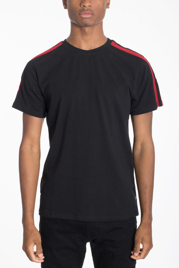 DUAL STRIPE TEE- BLACK/RED