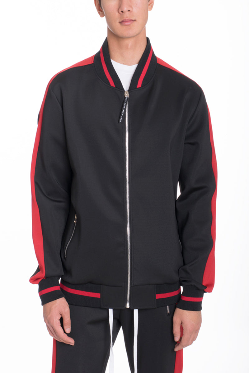 RALLY TRACK JACKET- BLACK/RED