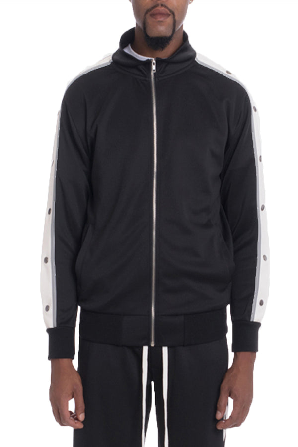 SNAP BUTTON TRACK JACKET- BLACK