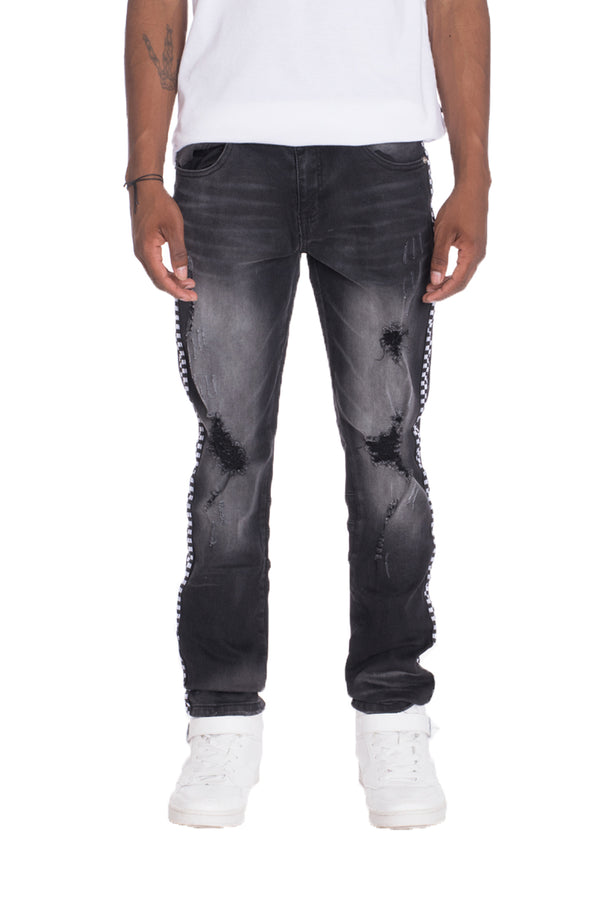 Racer Stripe Denim - BLACK Distressed