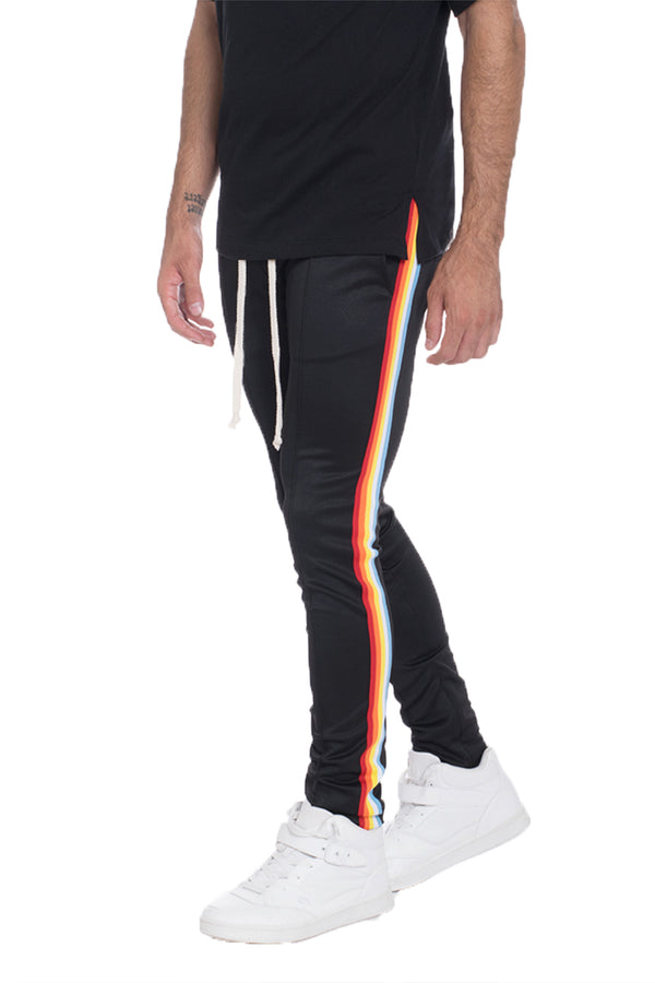 FULL RAINBOW TAPED TRACK PANTS- BLACK