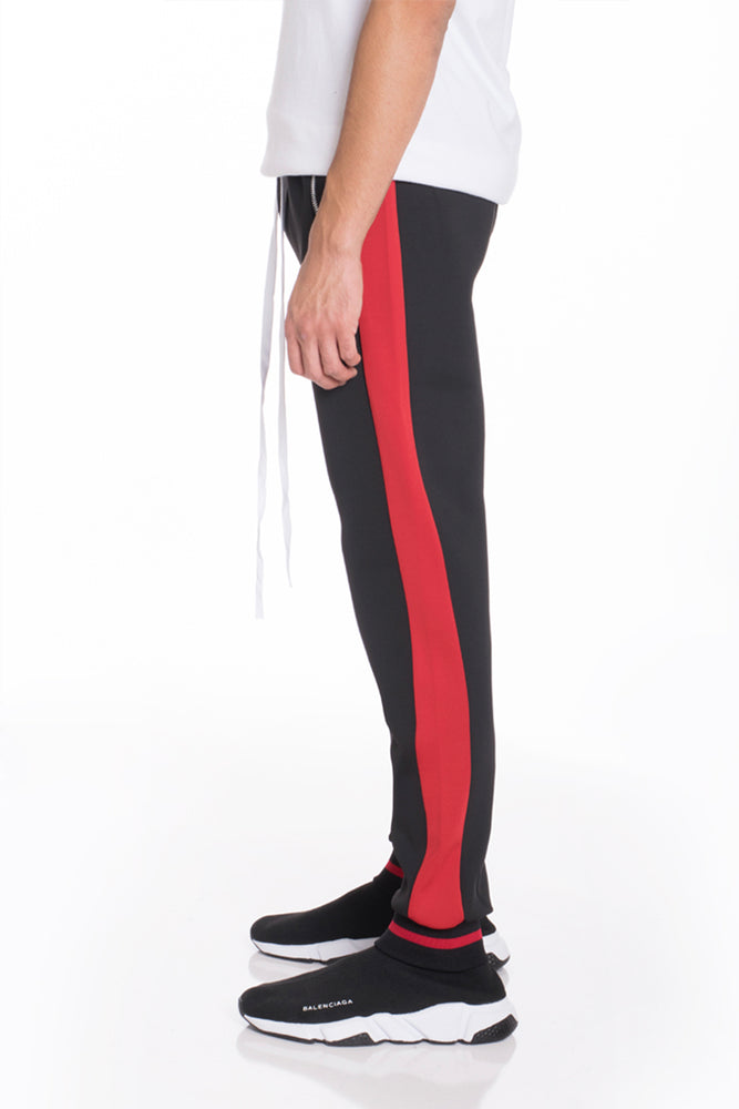 RALLY TRACK PANTS- BLACK/RED