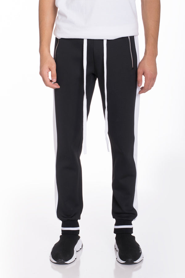 RALLY TRACK PANTS- BLACK/ WHITE