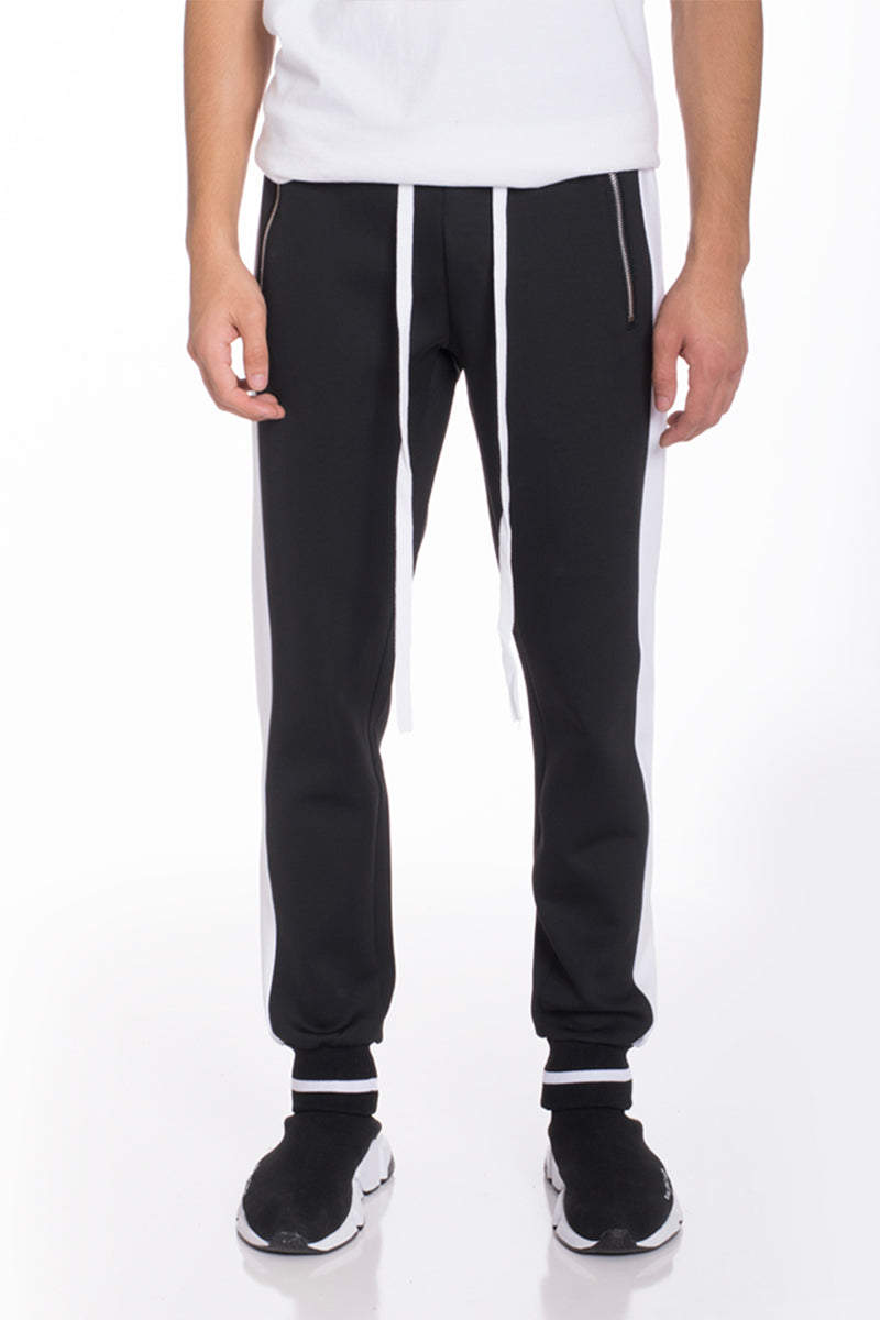 HEAVY WEIGHT TRACK PANTS- BLACK/ WHITE