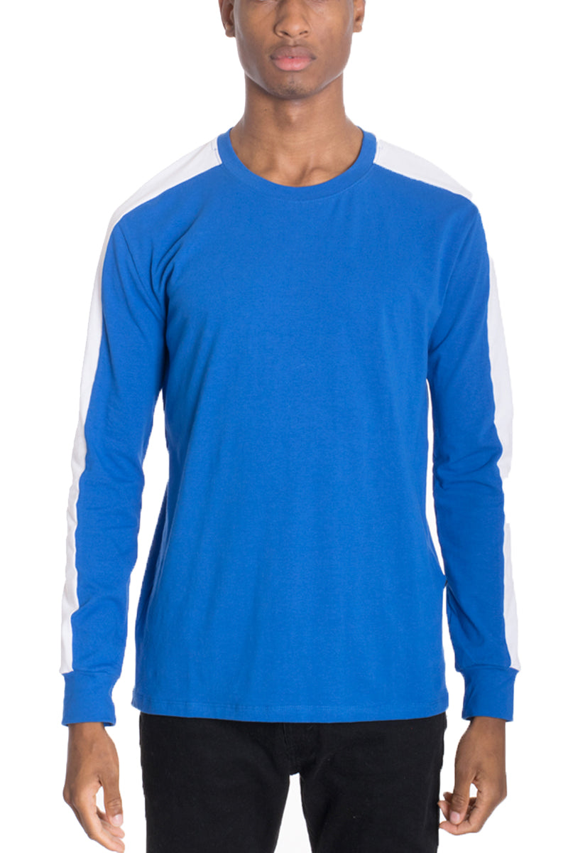 SIDE STRIPE LONG SLEEVE- BLUE