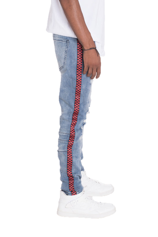 Racer Stripe Denim - BLUE Distressed