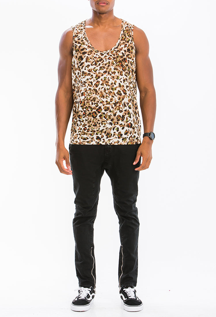 COLORED LEOPARD PRINT TANK- BROWN