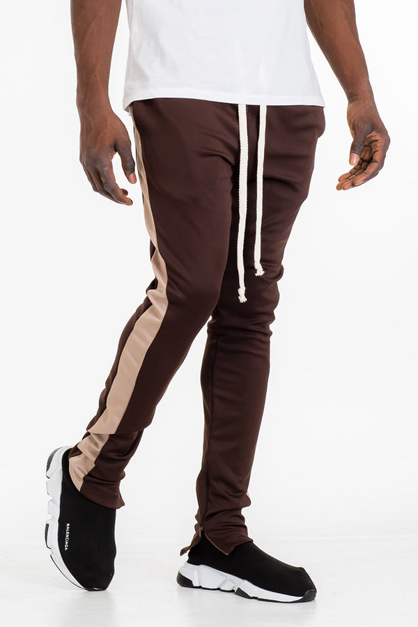 CLASS SKINNY FIT TRACK PANTS-  BROWN/ KHAKI