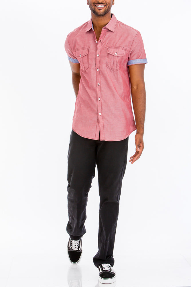 Load image into Gallery viewer, OUTLINE STITCH SHORT SLEEVE BUTTON DOWN SHIRT