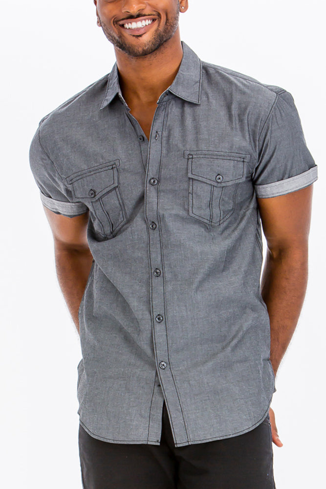 OUTLINE STITCH SHORT SLEEVE BUTTON DOWN SHIRT