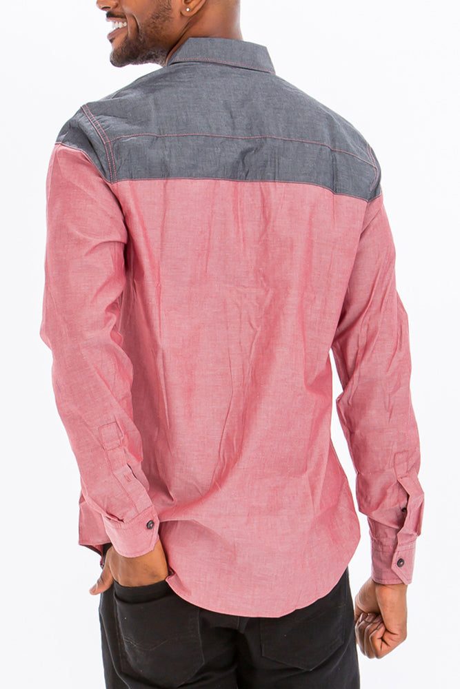 Load image into Gallery viewer, TWO TONE LONG SLEEVE BUTTON DOWN