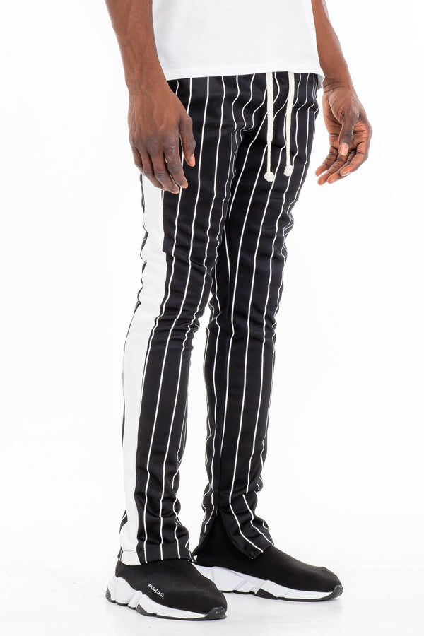 PIN STRIPE TRACK PANTS-BLACK