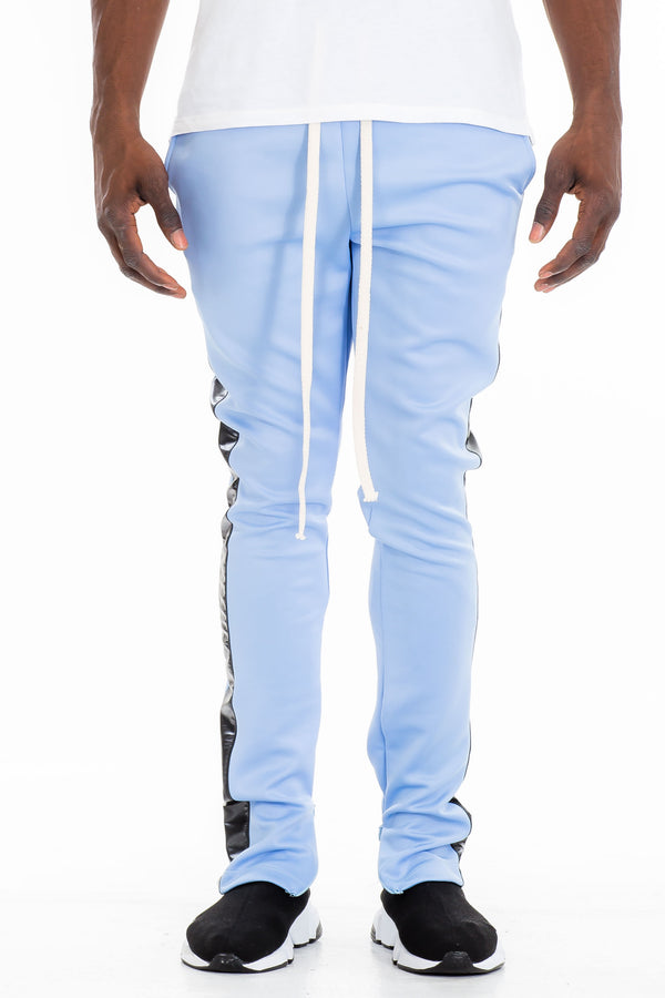 LEATHER TRACK PANTS - LIGHT BLUE