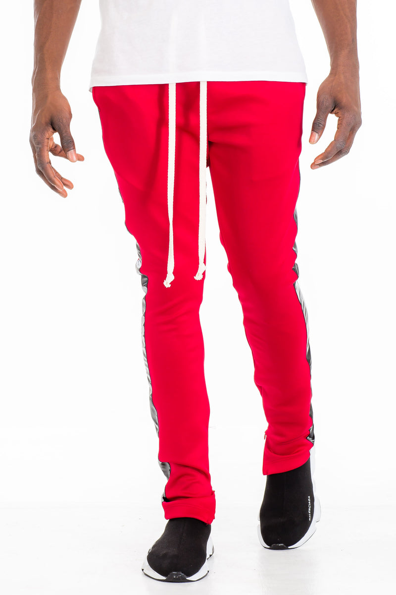 LEATHER TRACK PANTS - RED