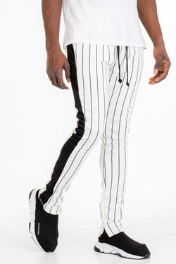 PIN STRIPE TRACK PANTS-WHITE