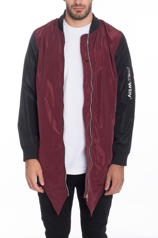 FISHTAIL BOMBER- BURGUNDY