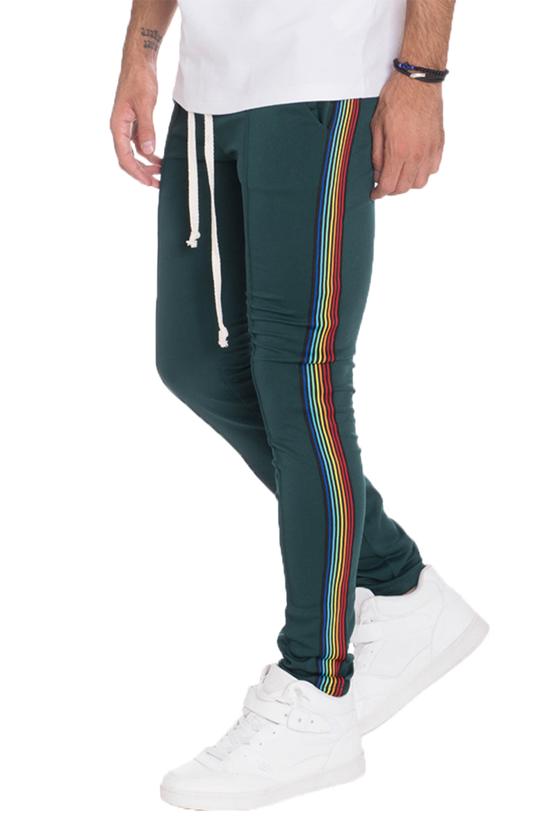 FULL RAINBOW TAPED TRACK PANTS- HUNTER GREEN