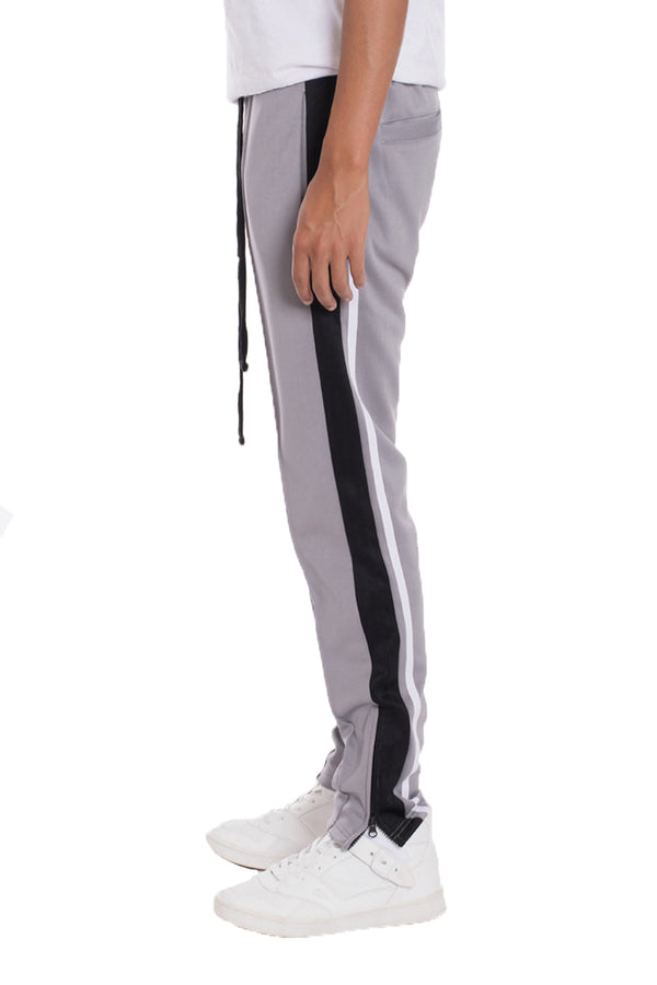 TRICOT STRIPED TRACK PANTS- GREY