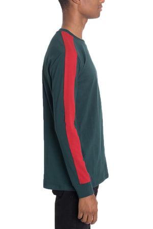 Load image into Gallery viewer, SIDE STRIPE LONG SLEEVE- GREEN