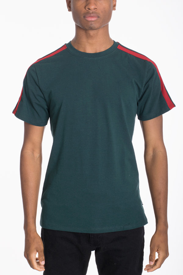 DUAL STRIPE TEE- GREEN
