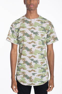 CAMO SCALLOP TEE-OLIVE