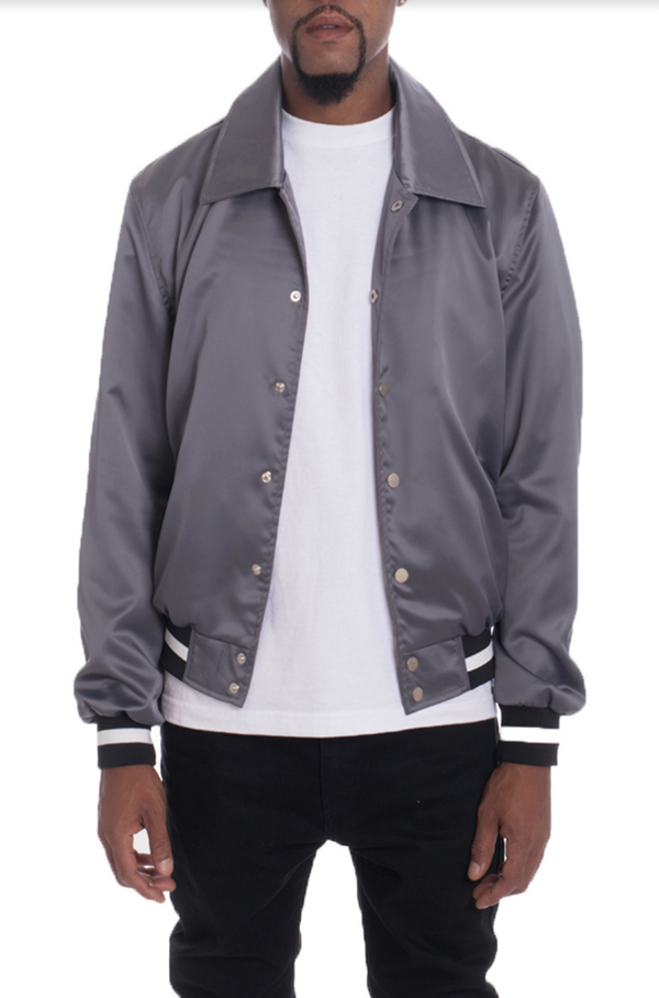 LUXE SATIN BOMBER-GREY
