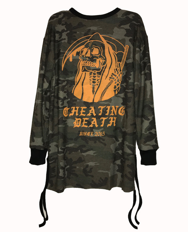 "Camo ""Cheating Death"" Long Sleeve Tee"
