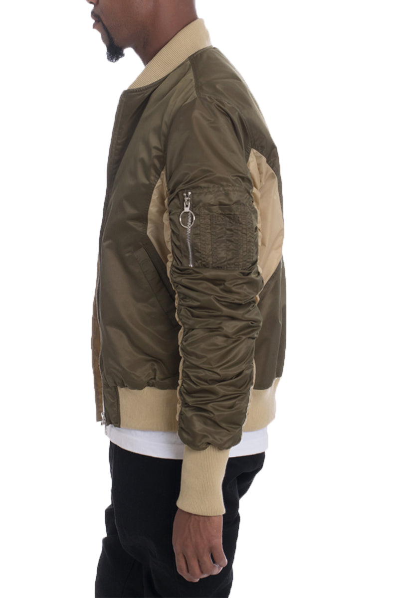 TWO TONE BOMBER- OLIVE