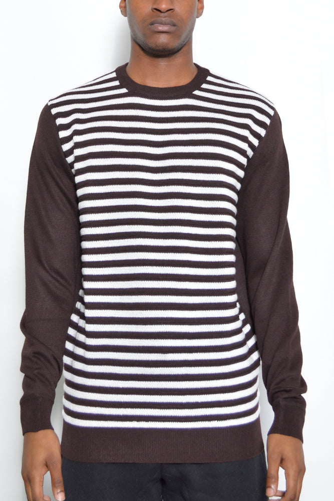 Load image into Gallery viewer, STRIPED CUTOUT KNIT SWEATER