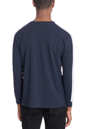 Load image into Gallery viewer, SIDE STRIPE LONG SLEEVE- NAVY