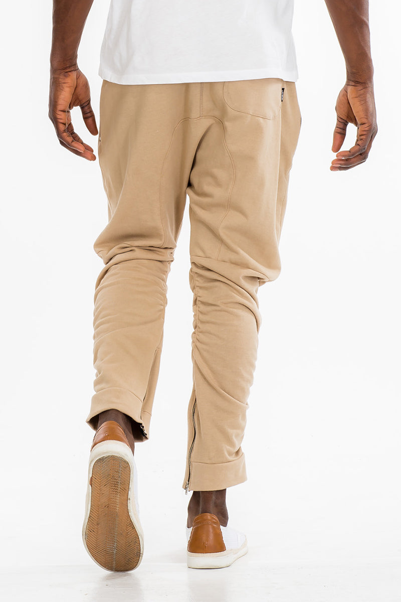 GATHERED BOMBER PANTS- KHAKI