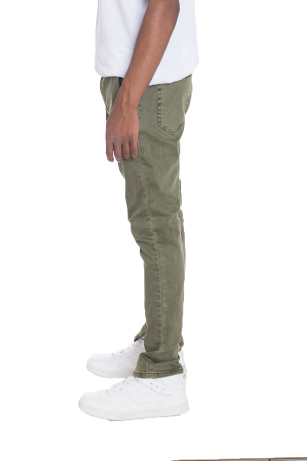 WEIV Solid Stretch Denim Skinny Jeans OLIVE