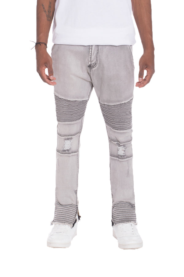 WEIV Stretch Denim Ripped Skinny Moto Jeans GREY