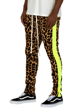 CHEETAH PRINT STRIPE TRACK PANTS- LIME