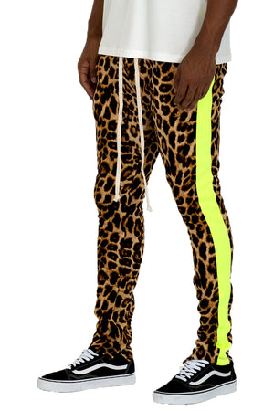 Load image into Gallery viewer, CHEETAH PRINT STRIPE TRACK PANTS- LIME