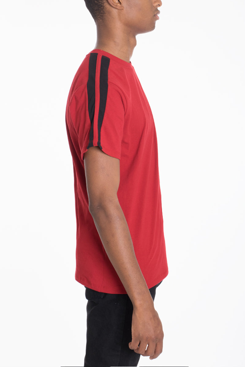 DUAL STRIPE TEE- RED/BLACK