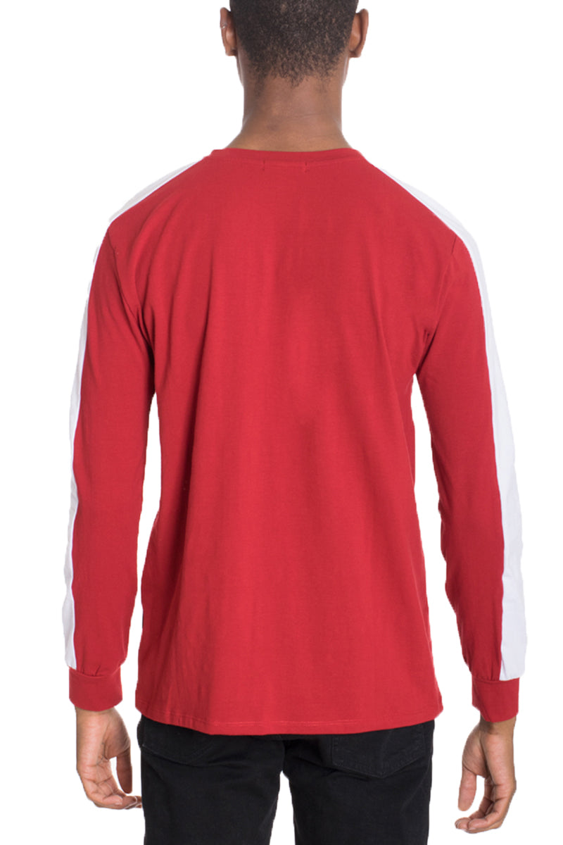 SIDE STRIPE LONG SLEEVE- RED/WHITE