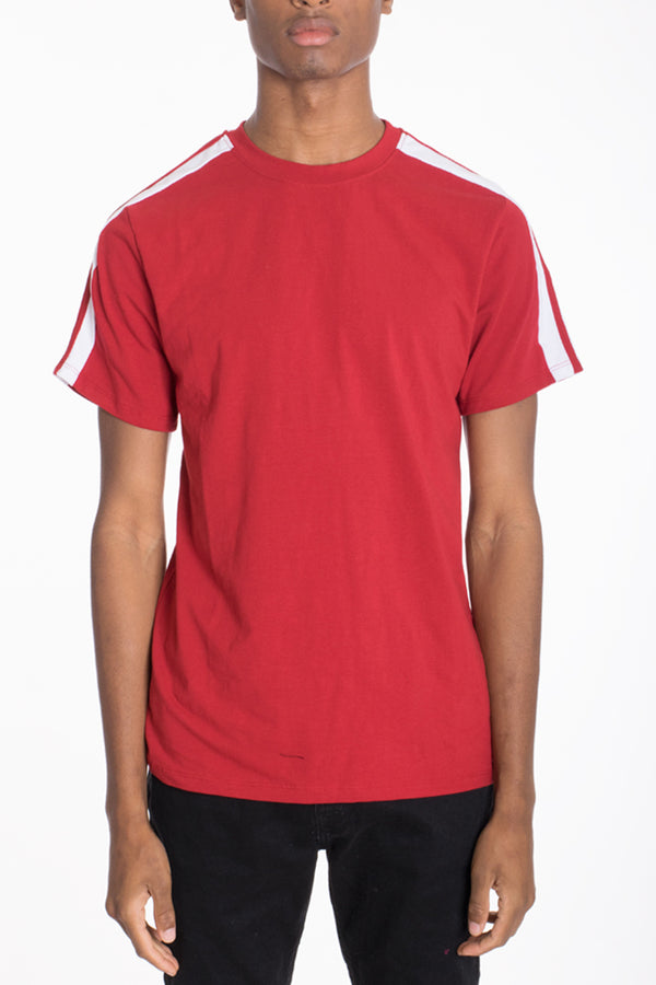 DUAL STRIPE TEE- RED/WHITE