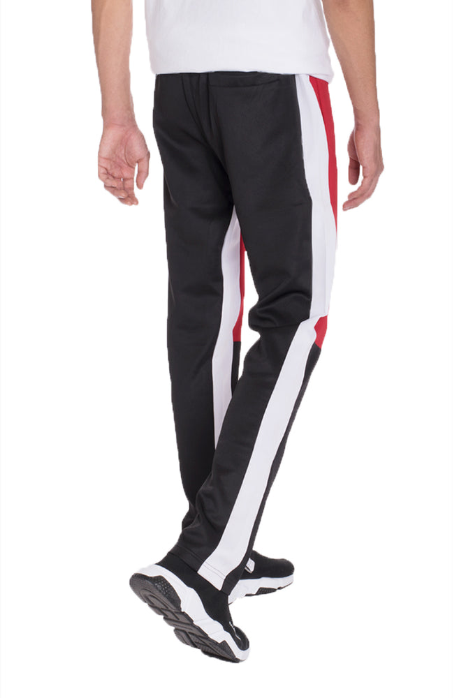 Load image into Gallery viewer, COLOR BLOCK TRACK PANTS- RED/ BLACK