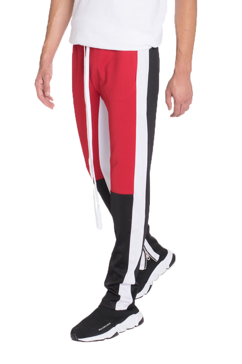 COLOR BLOCK TRACK PANTS- RED/ BLACK