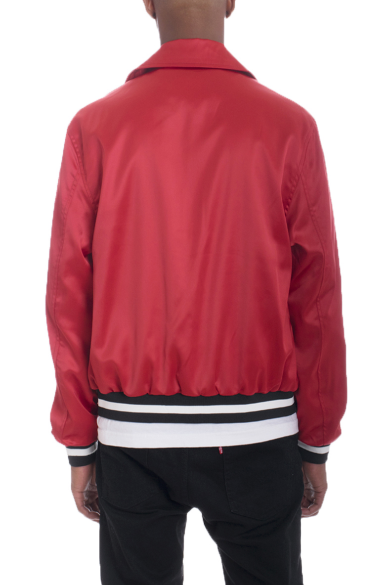 LUXE SATIN BOMBER-RED