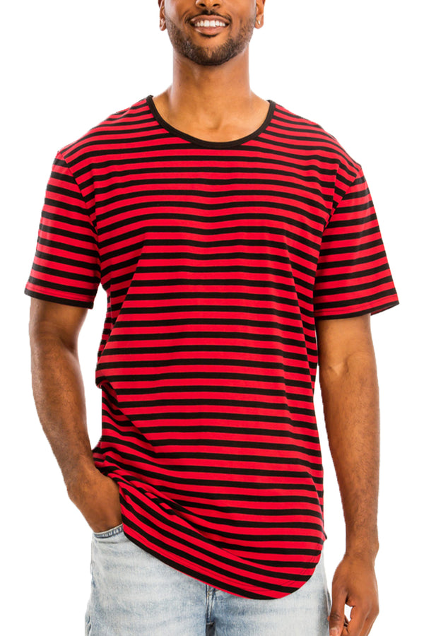 BASIC STRIPED TEE- BLACK/ RED