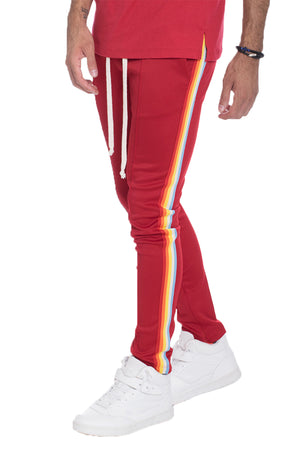 Load image into Gallery viewer, FULL RAINBOW TAPED TRACK PANTS- RED