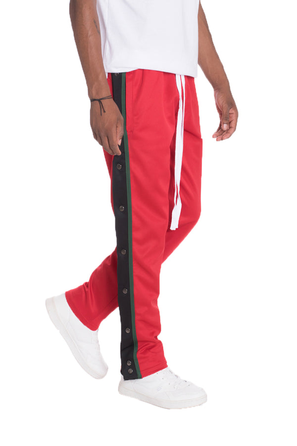 SNAP BUTTON TRACK PANTS- RED