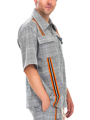 Load image into Gallery viewer, TAPED PLAID ZIP UP SHIRT