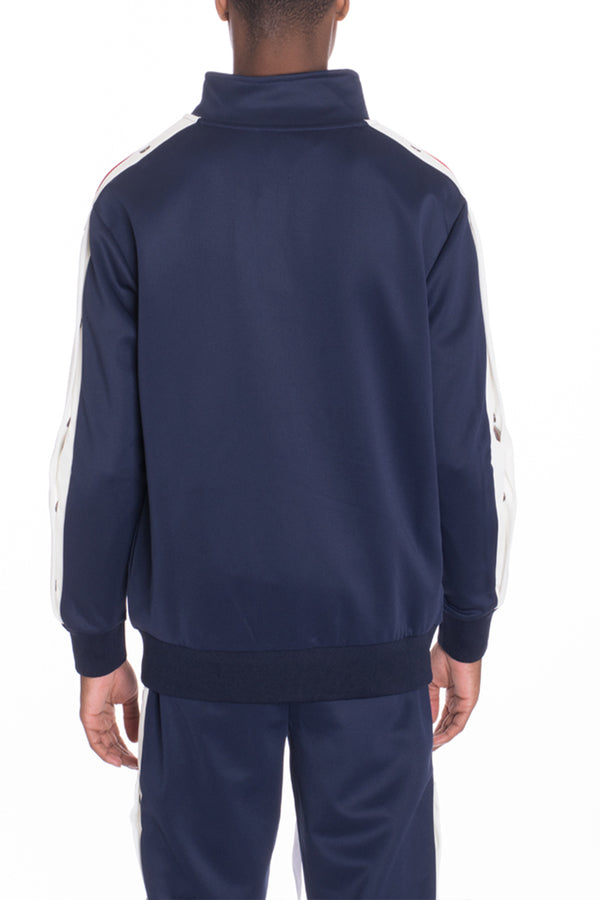 SNAP BUTTON TRACK JACKET- NAVY